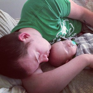Taking a nap with daddy