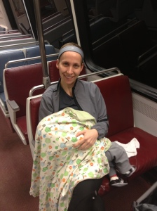 Feeding the baby on the metro before a half marathon