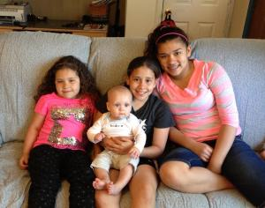 With his cousins Jordan, Jayda, and Jasmine