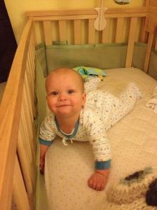 Happy baby when I went to get him in the morning