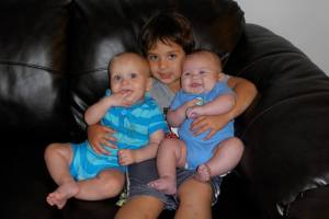 Kevin with his cousins Aiden and Austin