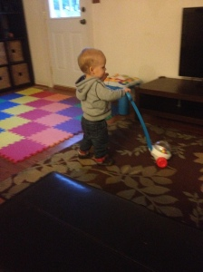 He loves walking around with his ball popper!