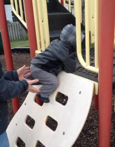 Somehow he learned how to climb too!