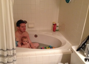 Taking a bath with daddy :)