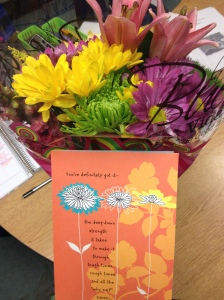 A sweet card and flowers from two amazing friends after the race