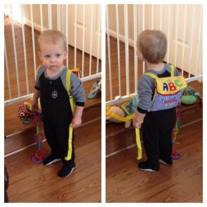 He put on his backpack and said bye bye because he wanted to go to Nanny's on a snow day!