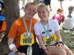 After a super hot race in Nashville. My body was not acclimated to the heat and I ran my slowest marathon ever.