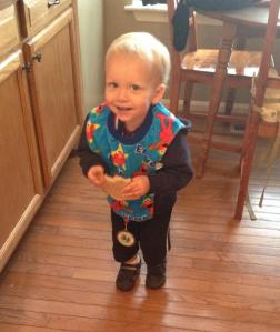 Picked out his own outfit and he chose an Elmo bib and my race medal- LOL