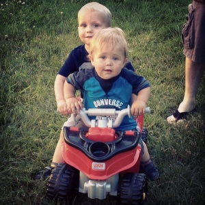 With his cousin Austin who is 6 months younger than him