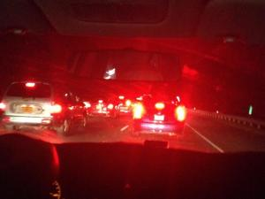 Dead stopped traffic on the way home... at 12:30 a.m. Ready to move to Myrtle! :)