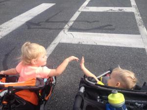 Kevin and his friend Leighton loving their stroller run!