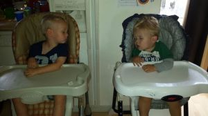 Kevin and Austin both passed out during snack time at daycare