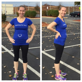 "My new ""For Two Fitness"" gear! Training for two shirt and maternity running capris. So comfy and flattering!"