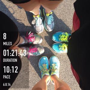 The first group run with some of the girls!