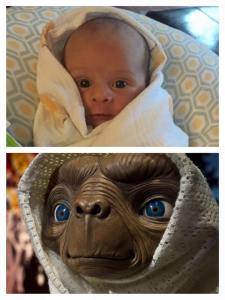 The things I do when feeding Kyler at 3 AM. You can't deny the resemblance though! :)