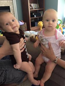 Hanging out with his friend Autumn- the daughter of my running buddy Laura who is 4 months older.