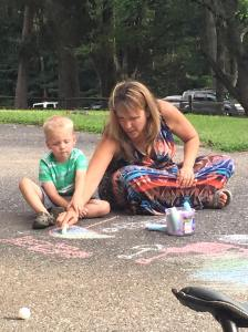 Sidewalk chalk with Sharyn (my dad's girlfriend)